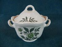 Wedgwood Green Leaf TK436 Queen's Shape Covered Sugar Bowl with Lid