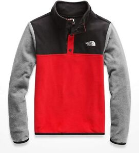 THE NORTH FACE BOYS GLACIER QUARTER SNAP SWEATSHIRT,FIERY RED, SIZE XS