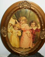 """Antique Oval Gesso Frame Bubble Convex 3 Children w/Bell & Balloon 25"""" x 19"""""""