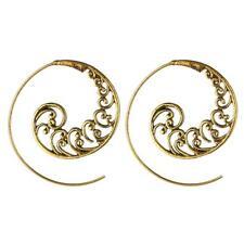 Women Dangle Ear Stud Round Spiral Brass Swirl Gear Wavy Hook Earrings Jewelry