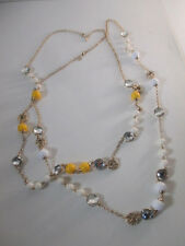 Banana Republic Mad Men Crystal bauble necklace NIP $39.50 yellow White set 2
