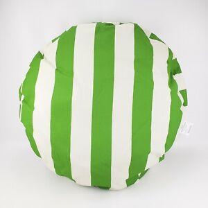 Majestic Vertical Stripe Medium Round Green Beige Outdoor Pet Dog Bed New
