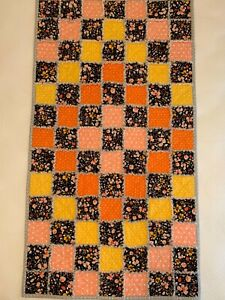 New Rag Quilt Throw Handmade Flannel Cotton Black Floral, Orange Yellow Peach
