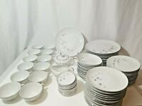 77 Piece Platinum Star Burst Dinnerware China Set By Creative of Japan, 1014