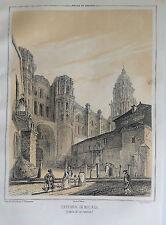 ANDALUCÍA, MÁLAGA , CATEDRAL. Litografía original de Parcerisa 1839-1865