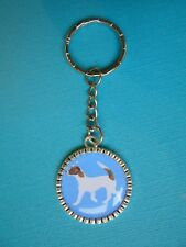 Jack Russell Dog Keyring Puppy Metal Handmade Bag Charm Silver Tone Terrier Blue