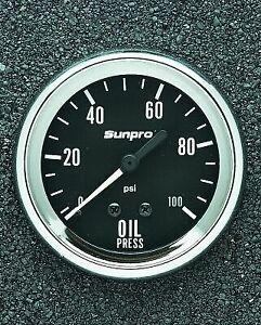 "Sunpro 2-5/8"" Mechanical Oil Pressure Gauge Black / Chrome Bezel New CP8061"