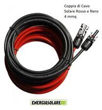 Coppia Cavo Solare Rosso Nero 4mmq MC4 montato metri selezionabili da 1 a 100mt