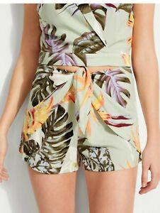 $59 NWT GUESS SMALL 2 - 4 Paradise Cove Sage Green Juni Floral-Print Wrap Shorts