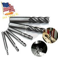 """6Pcs Carbide Coated CNC 4 Flute Spiral Bit End Mill Cutter set 1/8""""-5/8"""" Shank"""