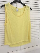 Vila Bright Yellow Cropped T Shirt Top Size 8 / 10 Women's Soft Material New
