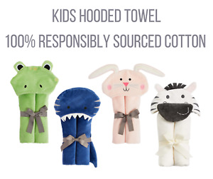 EX-High Street Responsibly Sourced Cotton Hooded Kids Bath Towel Wrap Toddler
