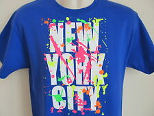 Vintage Hanes New York City Blue T-Shirt, Graffiti Neon Spray Paint, Size M