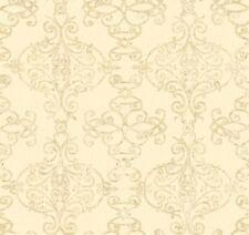 Wallpaper Designer Gray and Tan Trellis Scroll Lattice on Cream Faux