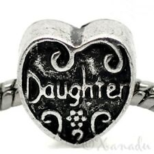 Daughter Heart Shaped Bead For European Charm Bracelet - Mom, Mommy Jewelry