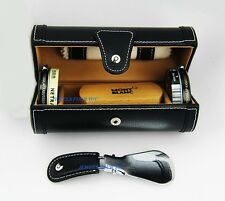 MONTBLANC TRAVEL BLACK 100% LEATHER SHOE POLISH KIT BOX GERMANY 8728 NEW
