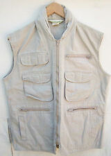 Beige/Tan Topography Vest with Pockets & Zipper Pocket Hood Size Small