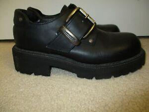 London Underground Men's Size 9 Black Chunky Heeled Leather Shoes Buckle Strap