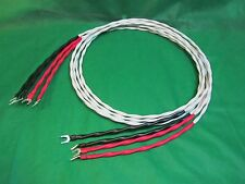 8 Ft Silver Plated 10 AWG Speaker Wire W/ Silver Spade Plugs, set of 4 Cables.