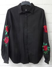 Women Ladies New Plain Cotton Rose Sleeve Embroided Top/Shirt/Blouse UK 8-14