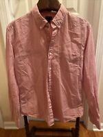 J. Crew Men's Button Down Shirt Size Large L Slim Fit Gingham Red check
