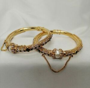 Indian Pakistani Gold Plated Kara Bangles With Black Stones And Pearl