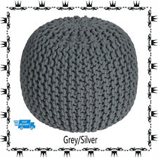 100% COTTON LARGE GREY KNITTED POUFFE CHUNKY KNIT FOOT STOOL CUSHION MOROCCAN