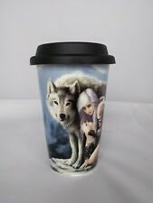 "Anne Stokes Ceramic Travel Mug With Insulated Lid ""Protector"""