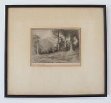 "Vintage Oregon Artist Alfred Schroff "" Near Cordova Alaska "" etching 1930's"
