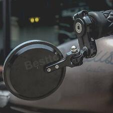 BLACK FOLDABLE MOTORCYCLE HANDLE BAR END SIDE MIRRORS FOR HONDA SUZUKI BOBBER US