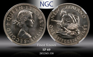 1965 NEW ZEALAND 1 SHILLING NGC SP69 FINEST KNOWN WORLDWIDE