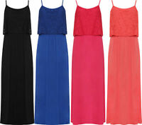 Ladies Plus Size Cami Floral Lace Lined Maxi Strappy Sleeveless Dress Size 14-28