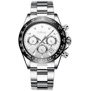 Men's Automatic Edison Monaco Watch Chronograph Movement Stainless Steel Strap