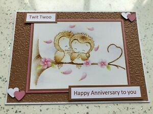 Handmade Anniversary card cute owls & hearts Wedding Anniversary card Twit Twoo