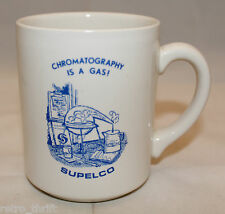 Vintage Supelco Chromatography Is A Gas White Blue Coffee Mug Cup Science USA
