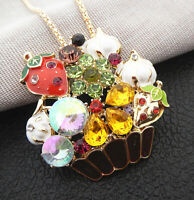 Betsey Johnson Colorful Enamel Crystal Strawberry Flower Pendant Necklace/Brooch