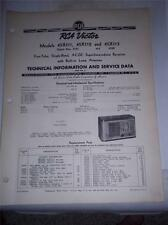 Vtg RCA Victor Service Data/Manual~45X111/45X112/45X113 Radio~1940~Original