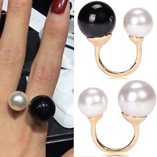 Women Vogue Jewelry Pearl Rings Statement Rolling Rings Beads Double Rings JR