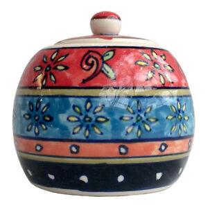 Beautiful Hand Painted Ceramic Sugar Bowl Floral Pattern Fair Trade