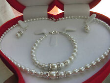 "Ivory Color Glass Pearl Rhinestone 16"" Necklace 7"" Bracelet Set Unwanted Gift"