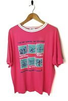 VINTAGE 80s 90s Mens Large Graphic Surf Top T-shirt Pink American Beach Loud Tee