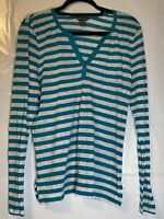 Tommy Bahama Ladies Linen Turquoise/White Striped Long Sleeve V Neck Top Size XL
