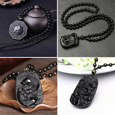Chinese Natural Obsidian Hand Carved Pendant Amulet Lucky Beads Necklace Unisex
