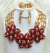 Latest design Gold Dark Red African Nigerian Beads Necklace Bridal Jewellery Set