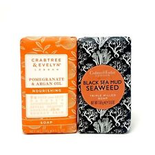 2 Crabtree & Evelyn Soaps - Pomegranate & Argan Oil Black Sea Mud Seaweed 5.6 oz