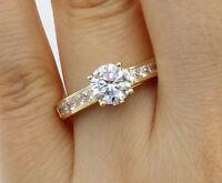2.00 Ct 14K Yellow Gold Trellis Round Engagement Wedding Propose Promise Ring