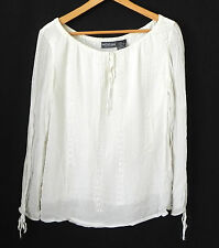Notations Long Sleeve Top Hobo Ivory Embroidery Trim Loose Fit Size L