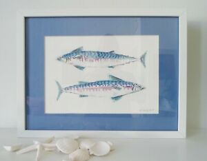Mackerel Painting, original water-colour, 43 cm x 33 cm, Father's day gift