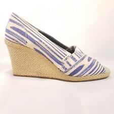 TOMS Womens blue Beige Canvas Wedge  summer natural Size 9.5 wide stripe Q7