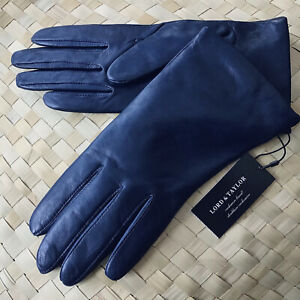 NWT Lord & Taylor Gloves Soft Genuine Leather 100% Cashmere Lined Ink Blue 7.5